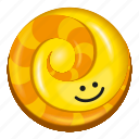 candy, lollipop, orange, pineapple, yellow icon