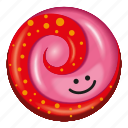 candy, lollipop, red and pink, spots, strawberry icon
