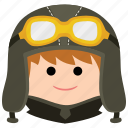 char, goggles, headgear, male, man, pilot, uniform icon