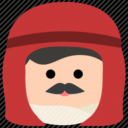 arab, char, headdress, keffiyeh, male, man, mustache icon