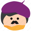 artist, beret, char, male, man, mustache, painter icon