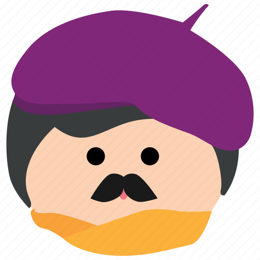 artist, beret, char, male, man, mustache, painter icon