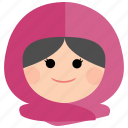 char, female, girl, headscarf, muslim, woman icon