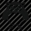 head, wing, owl, eyes, big, night icon