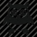 adorable, animal, bird, character, cute, happy, owl icon