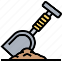 burial, cemetery, digger, grave, shovel icon