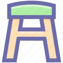 bar, counter stool, decor, décor, furnishing, furniture, house, kitchen, kitchens, stool, wooden stool icon