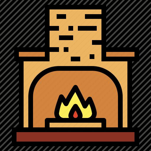 chimney, fireplace, furniture, warm icon