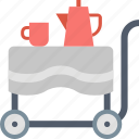 cart, coffee, cup, food, furniture, kettle, table icon
