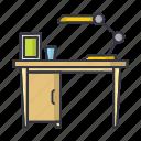 table, desk, lamp, furniture, interior