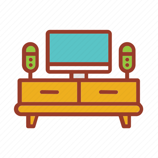 desk, furniture, home, house, living, television icon