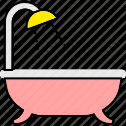 bath, bathroom, clean, shower, wash, washbasin, water icon