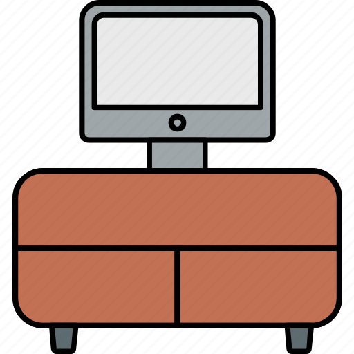 computer, computer table, desktop, furniture, table, television, tv icon