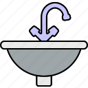 bath, clean, kitchen, sink, tap, wash basin, water icon