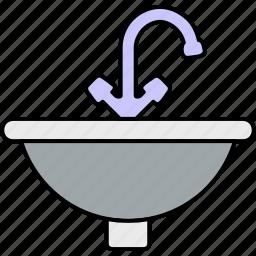 bath, clean, kitchen, sink, tap, wash basin, water icon