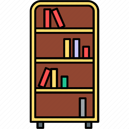 almirah, books, furniture, library, school, study almirah, study room icon