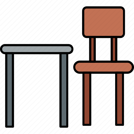 chair, dinning table, furniture, home, study, study room, table icon