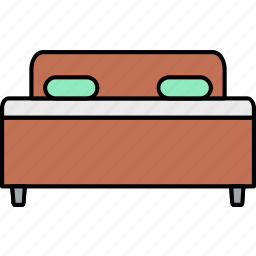 bed, bedroom, furniture, home, hotel, house, room icon