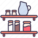 shelf, kitchen, jug, wall, utensil icon
