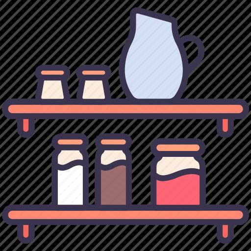 jug, kitchen, shelf, utensil, wall icon