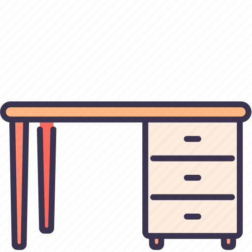 desk, drawer, furniture, office, table, work icon