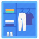 cabinet, cloth, dressing, shelf, wardrobe icon
