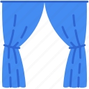 curtains, decor, home, room, scene icon
