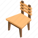 armless chair, chair, lawn chair, outdoor patio furniture, wooden chair icon