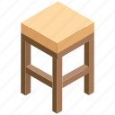 bar stool, counter stool, kitchen stool, stool table, wooden stool icon
