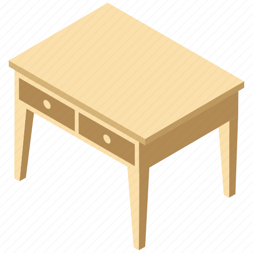 console table, desk drawer, furniture, study desk, table drawers icon