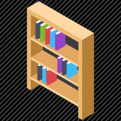 book rack, books almirah, bookshelf, library, study room icon