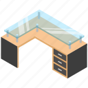 desk drawer, furniture, office desk, study desk, table drawers icon