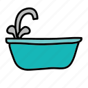 bathtub, furniture, sink, tab, water icon