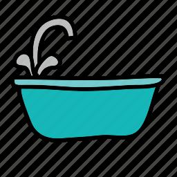 bathtub, furniture, sink, tab, water icon