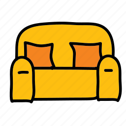 couch, furniture, livingroom, loveseat icon