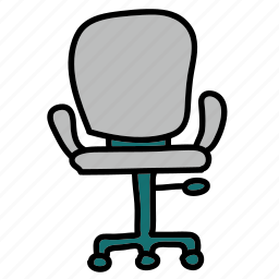 chair, desk, furniture, office, wheels icon