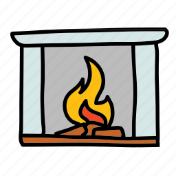 fireplace, flame, furniture, interior, livingroom icon
