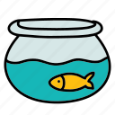 bowl, fish, furniture, goldfish, pet, water icon