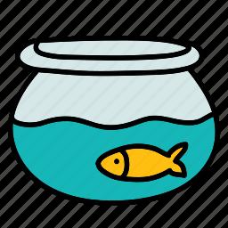bowl, fish, furniture, goldfish, pet, water icon