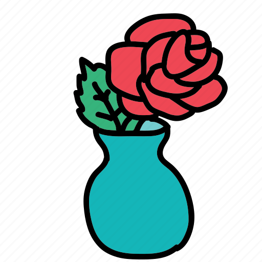 decorate, flower, furniture, interior, rose, vase icon