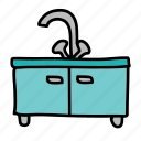 cupboard, doors, furniture, sink, wash icon