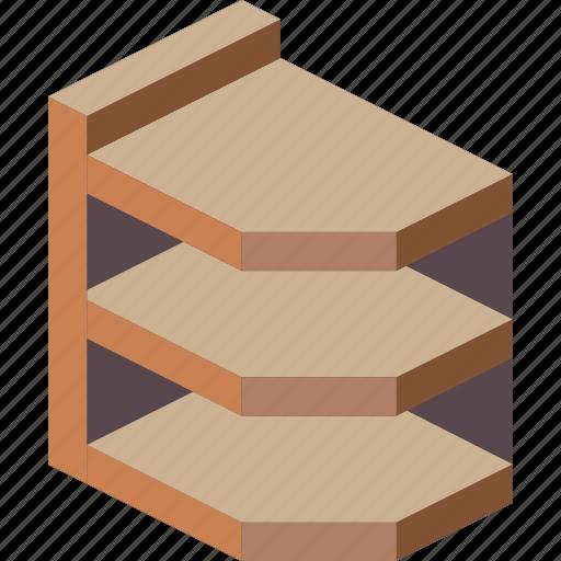 corner, flat, furniture, iso, shelves icon