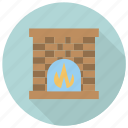 chimney, fire, furniture, interior icon