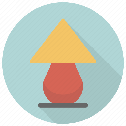 furniture, interior, lamp, rounded, table icon