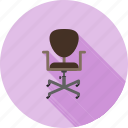 chair, furniture, leather, manager, office, revolving, wheels icon