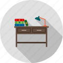 book, desk, lamp, library, school, study, table icon