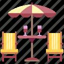 backyard, furniture, garden, house, outdoor, patio, table icon