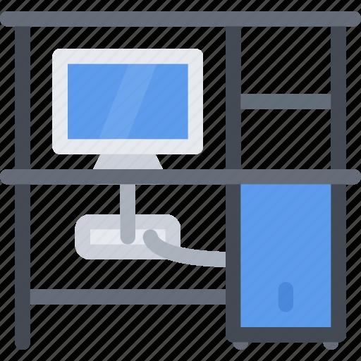 computer, design, desk, furniture, interior, layout icon