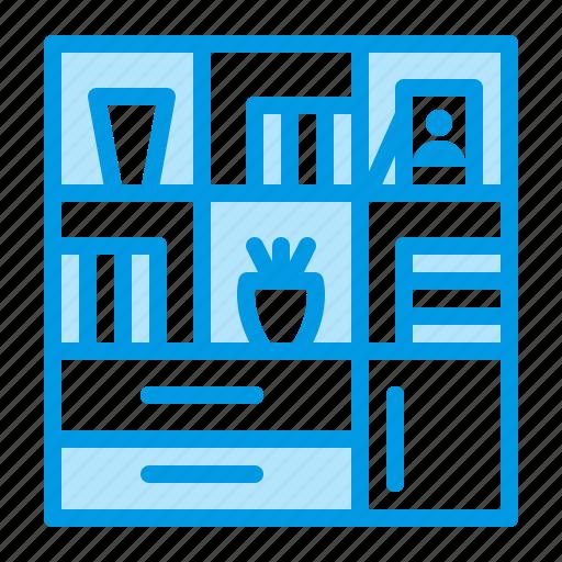 book, cupboard, furniture, interior, shelving icon
