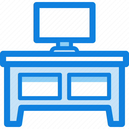 furniture, house, monitor, table, tv icon